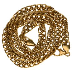 Yellow gold double curb link necklace in 14 kt.