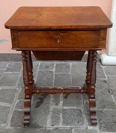 Walnut and walnut veneered work table - France - end of the 19th century