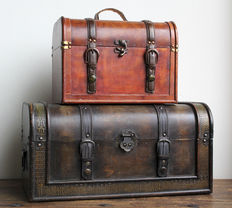 Two full of character suitcases - made of wood, finished with leather and brass