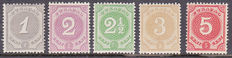 Curaçao 1889/1895 – Cipher stamps – NVPH 13/17