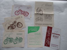 Express - original set of 17 old leaflets Express motorbikes and bicycles - 1955