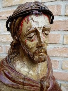 "Wooden bust ""Christ - Ecce Homo"" - Germany - late Gothic - 16th century"