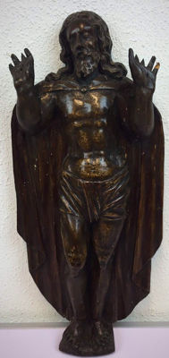A carved wooden wall sculpture of the risen Christ - Noli Me Tangere - presumably Belgium - 19th century