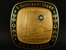 Vintage Brass and Enamel ADAC German MotorClub Charlottenberg E.V. Car Auto Badge for 1969 Meeting