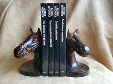 "Set of metal bookends ""horse's head"""
