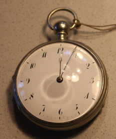 A silver Lepine pocket watch - quarter repetition (quarter repeater) - self activating tone for the full hour