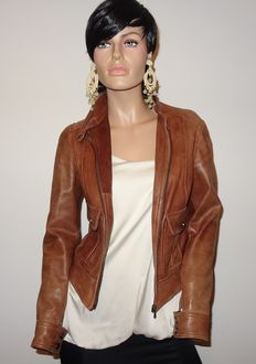 Massimo Dutti – Rugged cognac coloured lambskin jacket, no reserve price