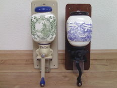 Two porcelain coffee grinders - decor mill and farm