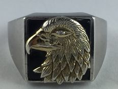 Men's signet ring 925 silver solid with eagle on onyx plate & small brilliant/diamond 0.01ct