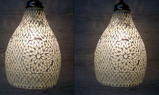 Two hand-made glass mosaic hanging lamps with brass holders