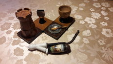 4-part wooden smoking set, Art Deco, with cigarette pipe, and a typical German pipe with hunting scene.