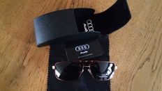 Audi sunglasses with storage box - red with gold-coloured details