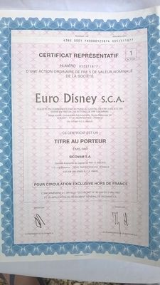 Lot of 23 sheets of Euro Disney shares and bonds