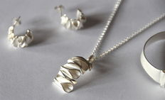 "Silver jewellery set ""Wave"" sterling 925 silver"