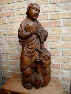 Rare oak sculpture of Saint 'Margaret of Antioch on the devil/dragon' - North-France - early 16th century