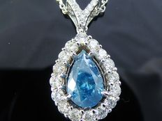 White gold necklace with pear-shaped cut diamond in intense fancy blue colour, 1.61 ct in total