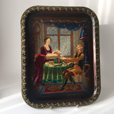 Russian folk art signed hand-painted tray