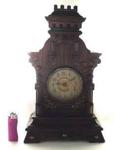 Works fine, black forest French musical fortified castle melodie alarm Clock - by 1890