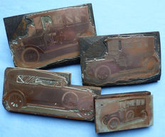 Original and Rare C.1900's Four Engraved Copper Vintage Automobiles Printing Blocks