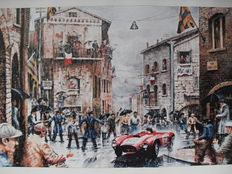 Art print - Alberto Ascari Mille Miglia 1954 oil painting on canvas