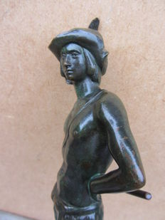 Ferdinand Sievert - bronze statue - boy from the mountains - Dresden, Germany - 1st half of the 20th century