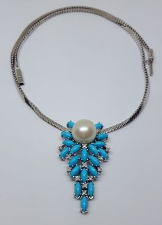 White gold necklace with various stones