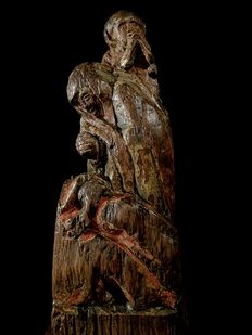 Oak fragment of an altarpiece group - Flanders - Late Gothic - early 16th century