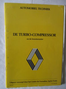RENAULT-DE TURBO-COMPRESSOR, Oct.1980 learning book Original RENAULT, 44pp. and RENAULT binder with 7 learning books, Feb.1983.