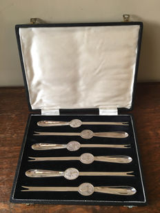 silver plated lobster forks
