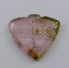 Large Tourmaline Bi-Color Carving- 11.40 ct