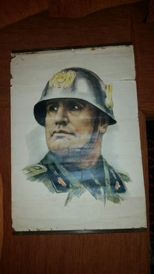 """Poster of the duce Mussolini by """"F. Spoltore"""" year XVIII 1940 chromolithography"""