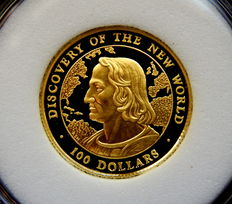 "Bahamas - 100 Dollars 1990 ""Discovery of the New World"" - Oro gold"