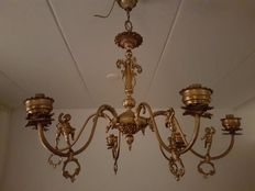 Large brass French chandelier with angels