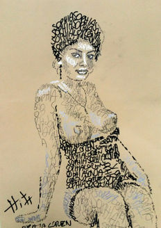 Original work; Jacob Hitt - Sophia Loren Painted With Words - 1991