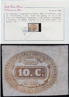 Kingdom of Italy – 1863 – 10 cent postage due – orange – Sassone 1b