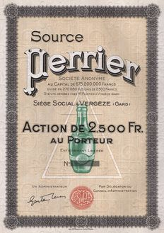 France (Vergeze) - Source Perrier, Action de 2.500 Fr. - Mineral Water Company