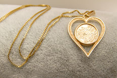 14K yellow gold, 5.87 grams pendant and necklace
