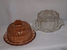 Two pressed glass Cheese dishes - ca. 1950 - 1970 - France Normandy.