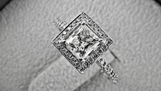 IGL 1.59 ct VS1 princess diamond ring in 14 kt white gold