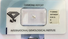 Loose Natural IGI Certified Diamond - Ct. 0,34 - Round - IF - D - Excellent