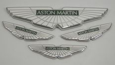 4 Aston Martin chrome & enamel car badges