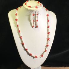 Freshwater pearl and coral necklace, bracelet, and earrings – 925 silver