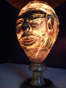 Hand carved Alabaster lamp, Italy, 1930