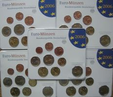 Germany – Year sets 2006 A, D, F, G, J, incl. 5 x 2 Euros Schleswig – Holstein