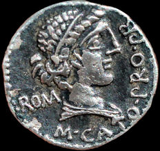 ROMAN REPUBLIC. M. CATO. Denarius (46-7 BC). African mint. VICTRIX. Victory seated right
