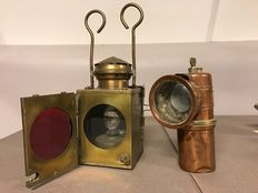 Yellow copper signal lamp & red copper carbide lamp