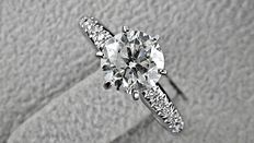 IGL 1.39 ct  round diamond  ring made of 14 kt white gold