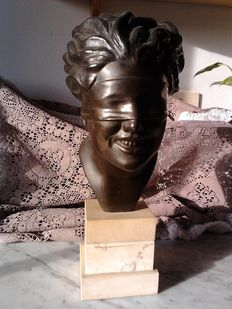 Zamak bronzed bust depicting the goddess of fortune, also known as lady luck, signed P. Uccello -Italy