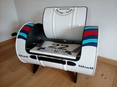 Martini Porsche - Chair made of steel oil barrel - 88 cm wide - after model of Porsche 917 Martini racing Le Mans winner 1971