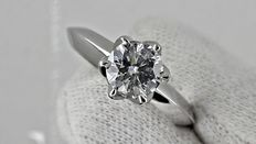 IGL 1.03 ct round diamond ring 14 kt white gold